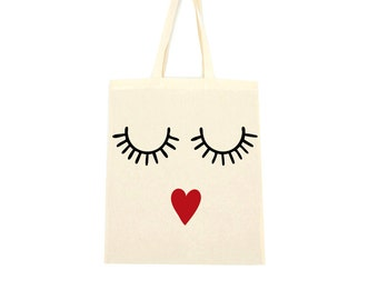 cotton tote bag, lips and lashes