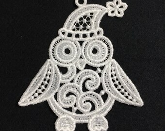 Penguin Owl Embroidered Free Standing Lace