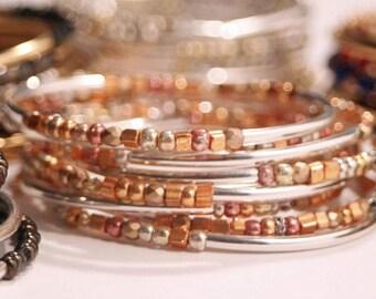 Rose Gold Bracelets for Women Bangle Bracelet Set Stackable Bangles Bracelet Stack for Stacking Gifts for Hippie Mom
