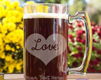 Love Heart Customizable Etched Glass Beer Stein Mug Glassware Gift