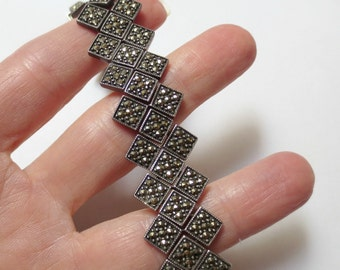 "Vintage Art Deco Style Sterling Silver and Marcasite Bracelet, 7"" long, 32.6 grams"