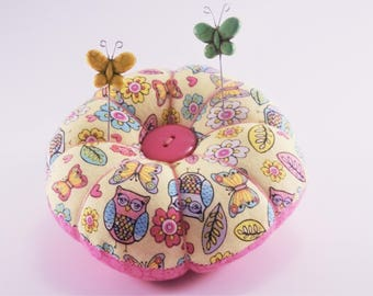 Owl and Butterfly Pincushion, Small Flower Pincushion with Owls and Butterflies, Retro Style Pincushion with decorative pins