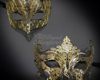 4everStore Couples Masquerade Mask, Gold Masquerade Mask, Mens Masquerade Mask, Masquerade Masks Women