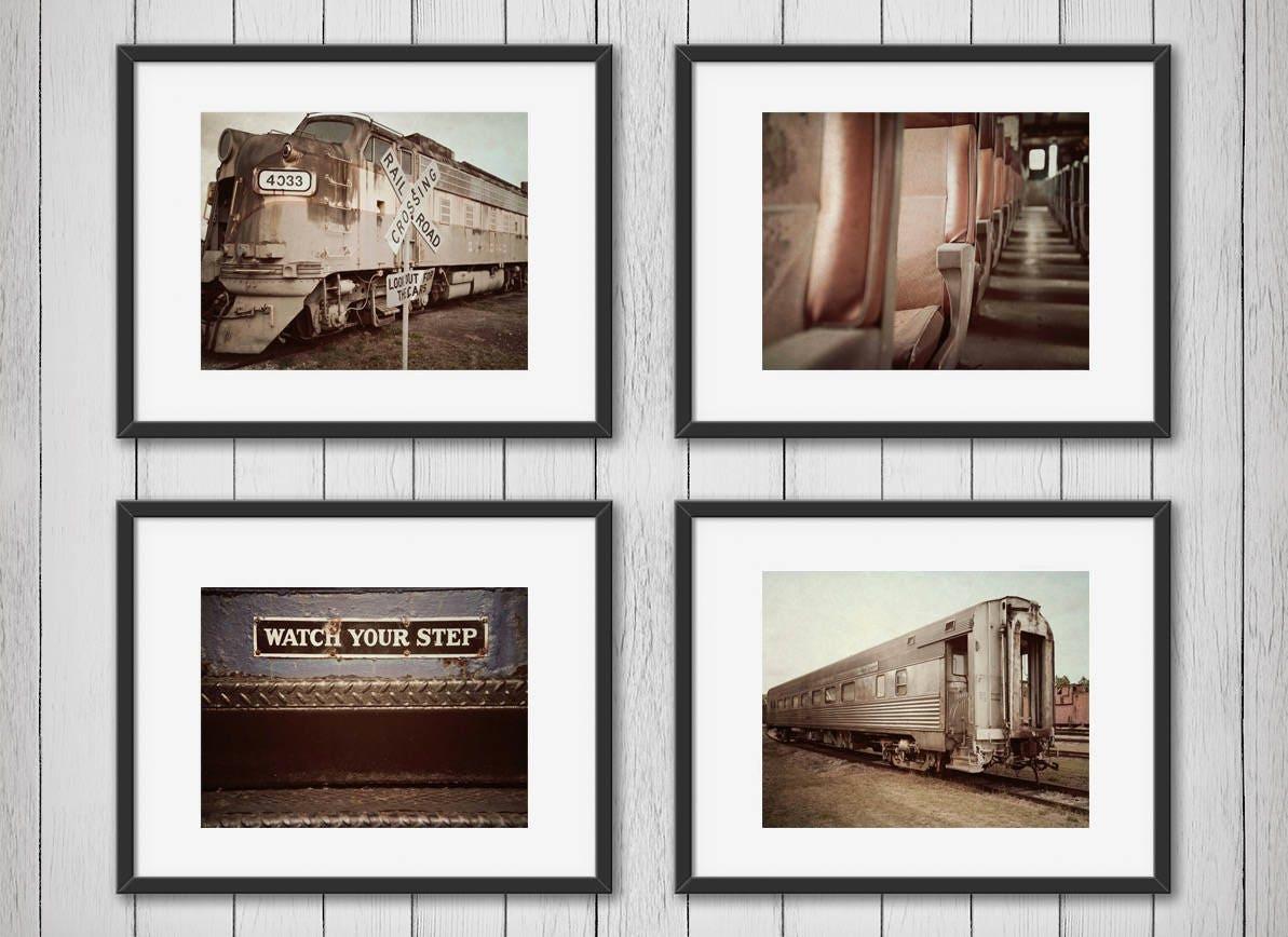 Satz von 4 Vintage Zug Zug Drucke Zug-Leinwand Zug-Plakat