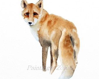 fox original watercolor painting fox original art woodland forest animals size: 9 x 12 in (23 x 31 cm)