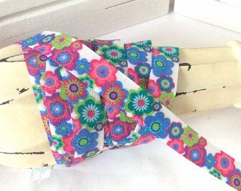 "5/8"" Pink Purple Teal Floral ~ FOE ~ Fold Over Elastic ~ Headbands ~ FOE ~ Trim  ~ 5/8 inch"