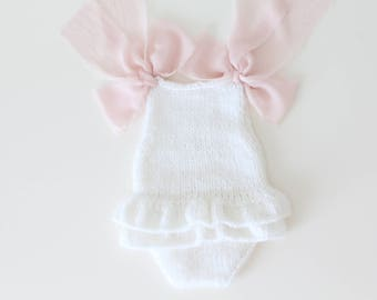 Newborn props - Newborn romper - Baby girl props - Photo props - Newborn girl - Baby photo prop - Newborn baby photo - White -Baby girl