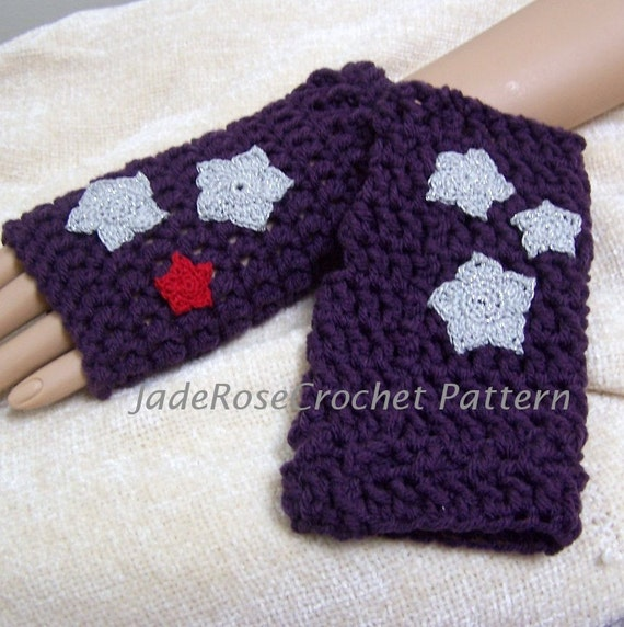 Crochet Fingerless Glove Pattern with Star Appliques Three
