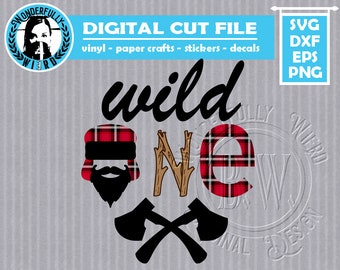 wild one bearded man multi layer cut file SVG w/ commercial license
