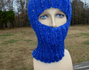Cobalt blue balaclava. Ski mask. Adult size. Ready to ship now. Blue full face coverage. Hand knit.