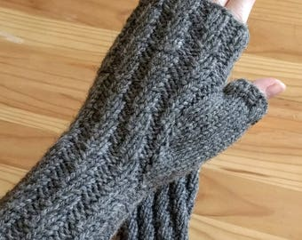 Handknit warm wool gray fingerless mitts