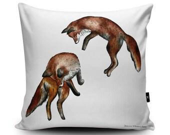 fox cushion, vegan cushions, faux suede cushion, fox pillow, animal cushion cover, vegan homeware, jumping foxes, fox cushion cover