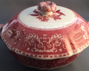 Spode Camilla Pink Round Handled Lidded Vegetable Tureen.