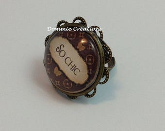 Adjustable ring - glass Cabochon - So Chic