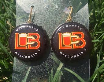 Lakefront Brewery Milwaukee Bottle Cap Earrings