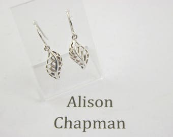 Silver leaf earrings. French hook 2.4 grams dangling drop