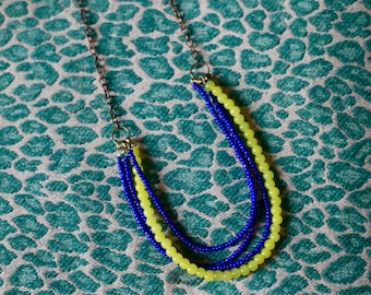 Navy Blue + Neon Yellow Beaded Necklace Jordan Emmitt Fall 2015 Collection