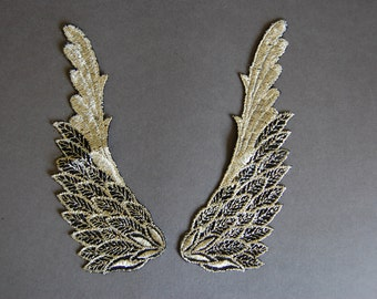 Pair Gold Wing Appliques