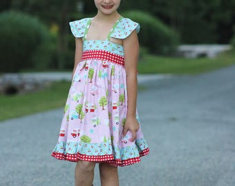 Girls Camper Dress - Girls Dress - Girls Summer Dress - Girls Camper Sundress - Vintage Camper Dress - Girls Vintage Dress - Girls Sundress