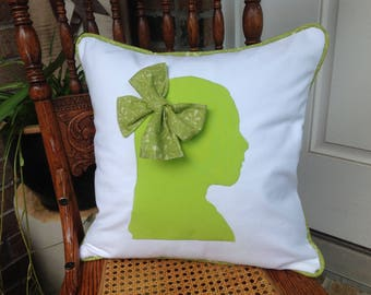 Child's Silhouette Profile Appliqued Cotton Duck Pillow Cover with Insert  Custom Made