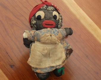 Vintage Folk Art- Black Sock Doll - Rag Doll