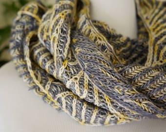 Asymmetrical Handknit Brioche Shawl