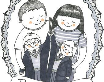 Custom Illustrated Family Portrait - A4