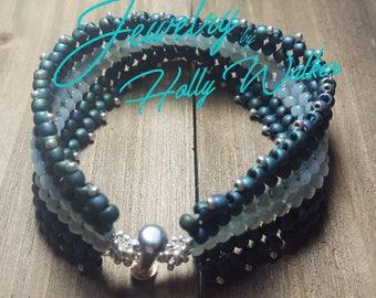 Shades of Green Herringbone Bracelet