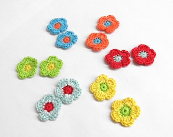 Tiny crochet flower appliques, 12 pc., 0.8 inches, colorful mix, small patches
