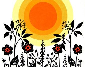 Garden City - 11 x 14 inch Cut Paper Art Print