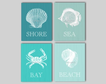 Nautical Wall Art, Nautical Prints, Seashell Wall Art, Beach Wall Art, Beach Prints, Beach Decor, Nautical Decor - Choose Your Colors