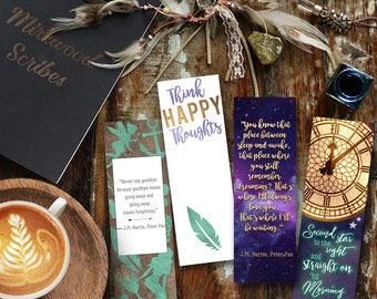 Peter Pan by J.M. Barrie Bookmarks, Neverland Think Happy Thoughts, Big Ben, Mermaids and Fairies Bookmarks