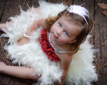 Floral tutu dress, feather dress, flower girl dress, feather tutu, flower tutu, pageant dress, girls dress, baby dress, girls clothing