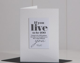 Never Live A Day Without You Card, Romantic Card, Love Card, Anniversary Card, A5, A6 (27A2)