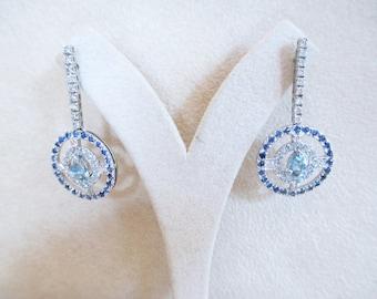 Aquamarine Earrings 1.04 Sapphire 0.80 Diamonds 0.50 F vs 18k White gold