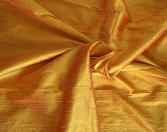 Silk Dupioni in Yellow with Red shimmers, Extra wide 54 inches -  DEX 271 A