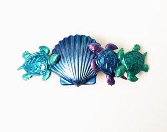 Sea Turtle Hair Barrette, Ocean Sea Life, Shells, Ocean Blues