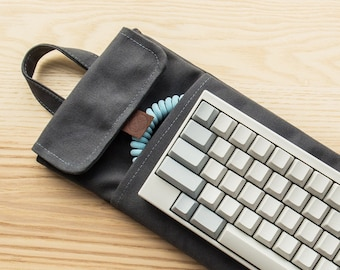 Charcoal Grey | 60% Mechanical Keyboard Sleeve or Carry Case | Water Resistant Lightly Waxed Canvas and Leather | Made to Order