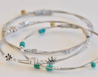 Guitar String Bangle Set For Her Dainty Beaded Music Jewelry Stacking Jewelry Silver Blue Guitar String Bracelets Gift For Girlfriend Flower