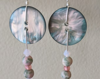Dangle Earrings made from Pink & Green Buttons, Stones and Glass Beads