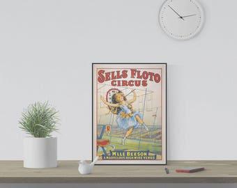 "Vintage Circus Poster Reproduction ""Sells Floto Circus"""