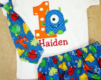 LIttle Monster Birthday shirt, Tie and Diaper Cover Birthday set, Smash Cake Outfit