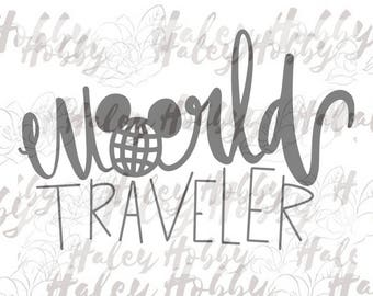 World Traveler Epcot SVG DXF Silhouette Cut File PNG