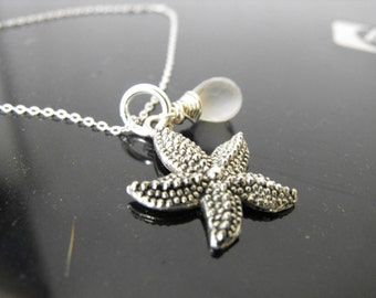 Tibetan Silver starfish SeaStar with Faceted Moonstone Necklace