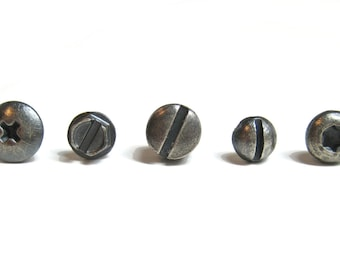 PICK TWO oxidized Silver Screw Head Stud Earrings for Men and Women. Sterling Silver Hardware Stud Earrings. ONE pair two different studs.