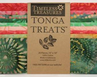 Watermelon 10 Inch Squares Layer Cake, 20 Pieces, Timeless Treasures Tonga Treats, Precut Fabric, Quilt Fabric, Cotton Fabric, Batik Fabric