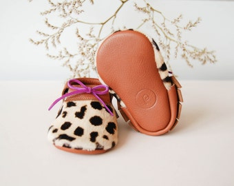 Leopard Baby Moccasins Genuine Leather | SALE