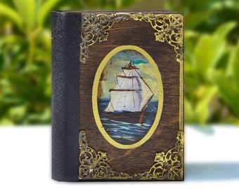 Travel notebook, Mini journal, Marine décor, Old ship, Navy theme, Hand painted ship, Sea lovers, Ship Journal, Hancrafted notebook