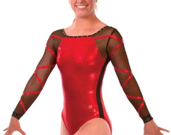 Adult Small Red Elated Gymnastics Competition Leotard