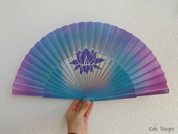 Lilac Lotus Meditation Yoga Hand Fan
